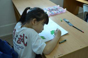 儿童绘画班 - 蜡笔画和水彩画上课情景